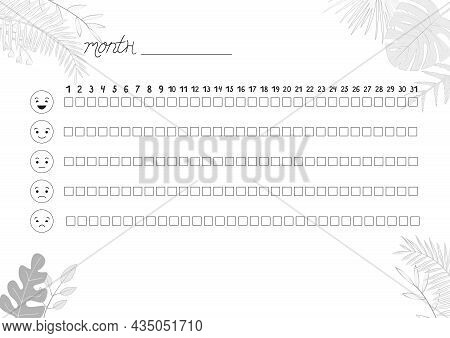 Printable A4 Paper Sheet With Tropical Leaves To Fill Planner Of Mood Tracker In Minimalist Style. T