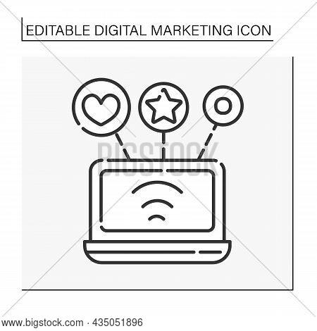 Social Media Marketing Line Icon. Smm. Use Of Social Media And Networks To Market Company Products A