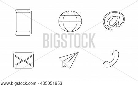 Set Of Web Icons: Telephone Receiver, Messaging, Airplane Letter. Internet Sign, Email. Vector Illus