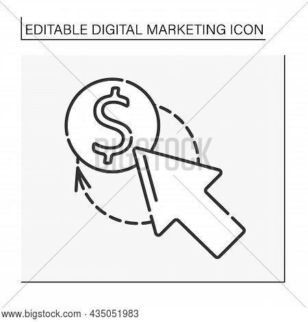 Advertising Line Icon. Pay-per-click Online Advertising. Clicked Link. Digital Marketing Concept. Is