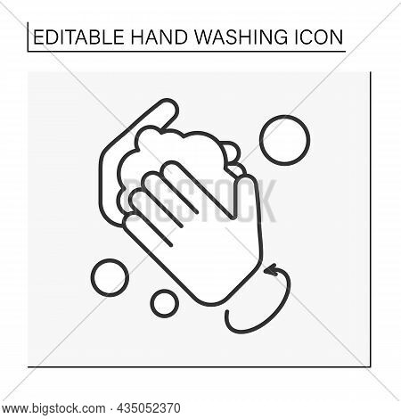 Regulations Line Icon. Rules Of Correct Hand Washing. Circular Motion For Hands Washing. Hygiena Con