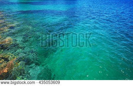 Blue Rippled Water And Seabed Of The Mediterranean Sea, Natural Background Photo