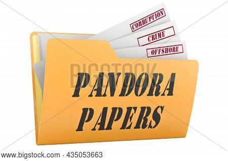 Pandora Papers, Concept. 3d Rendering  Isolated On White Background