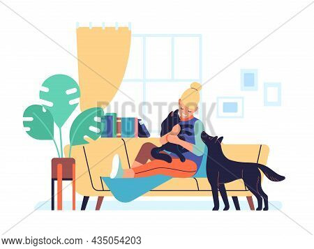 Pet At Home. Happy Woman Sitting On Sofa Playing With Cat And Dog. Owner Hugs With Black Kitty. Dome