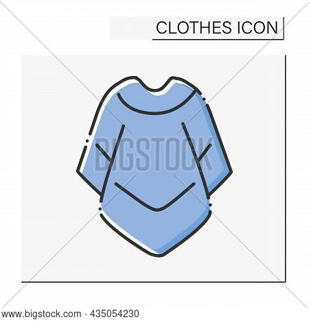 Fashion Color Icon. Mucho Poncho For Cold Weather. Outerwear. Fashionable Warm Cloth.shopping.clothe