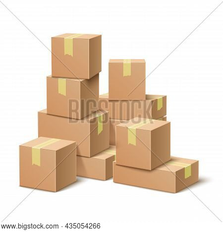 Cardboard Boxes Stack. Realistic Paper Containers Group, Post Delivery Packaging With Tape, Big Pile