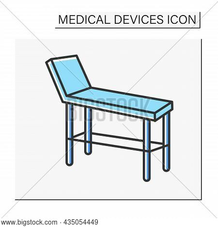 Examination Table Color Icon. Special Device For Examining Patience Health. Treatment. Healthcare. H