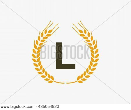 Agriculture Wheat Logo On L Letter. Letter L Agriculture Logo Design Template, Food, Healthy Nutriti