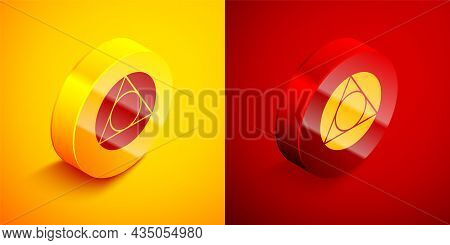 Isometric Triangle Math Icon Isolated On Orange And Red Background. Circle Button. Vector