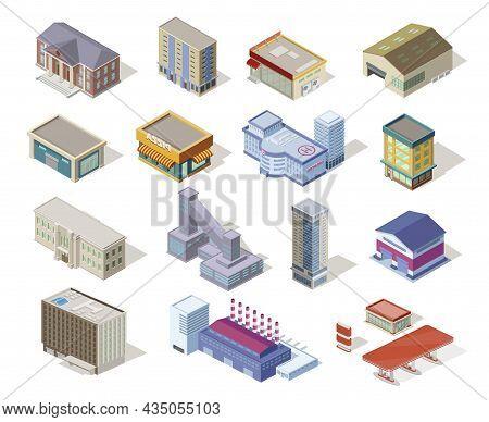Modern Isometric City Buildings Set Vector. Urban House, Skyscraper, Office Center, Shop