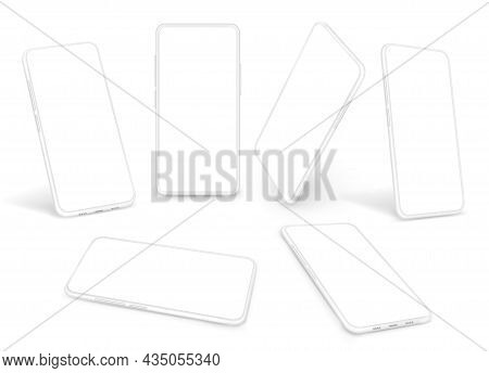 White Smartphones Template. Gadget Advertising Mockup, Clean Cellphone Clipart. Isolated 3d Mobile P