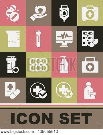 Set Bottle Of Medicine Syrup, First Aid Kit, Pills Blister Pack, Iv Bag, Test Tube With Blood, Measu