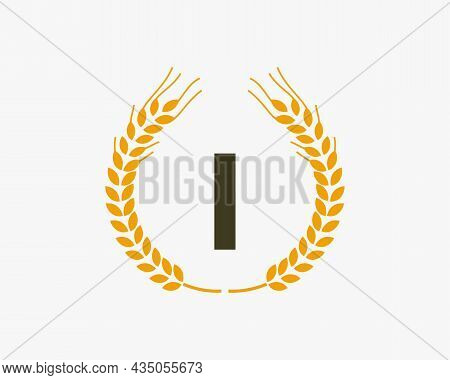 Agriculture Wheat Logo On I Letter. Letter I Agriculture Logo Design Template, Food, Healthy Nutriti