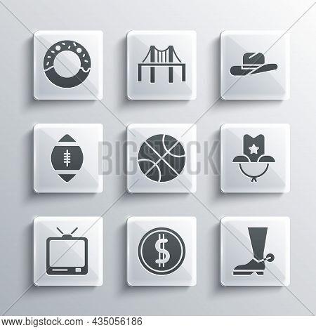 Set Coin Money With Dollar, Cowboy Boot, Western Cowboy Hat, Basketball Ball, Retro Tv, American Foo