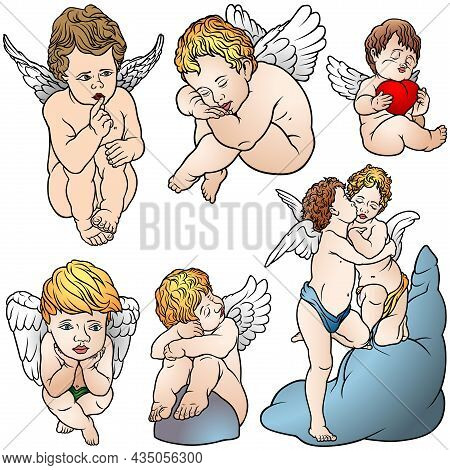 Set Of Six Cherubs With Wings - Colored Illustrations Isolated On White Background, Vector