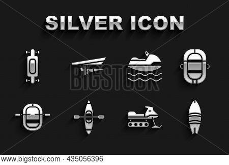 Set Kayak Or Canoe, Rafting Boat, Surfboard, Snowmobile, Jet Ski, Longboard Skateboard And Hang Glid