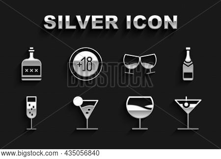 Set Martini Glass, Champagne Bottle, Wine, Glass Of Champagne, Cognac Or Brandy, Alcohol Drink Rum A