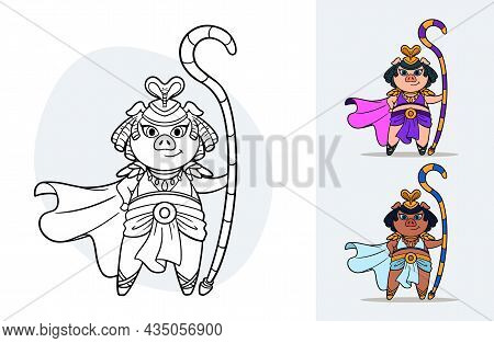 Vector Cartoon Colorbook For Children With An Ancient Egypt Queen Pig With Color Variations Examples