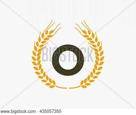 Agriculture Wheat Logo On O Letter. Letter O Agriculture Logo Design Template, Food, Healthy Nutriti