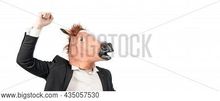 Businessman Man In Horse Head Mask With Raised Fist Strength Gesture, Workhorse