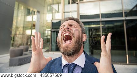 Frustrated Shouting Bearded Businessman In Formal Suit, Bankruptcy