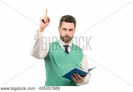 Inspired With Idea Man Hold Notebook Isolated On White Background, Inspiration