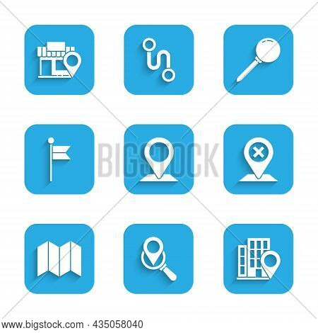 Set Location, Search Location, With House, Folded Map, Marker, Push Pin And Store Icon. Vector