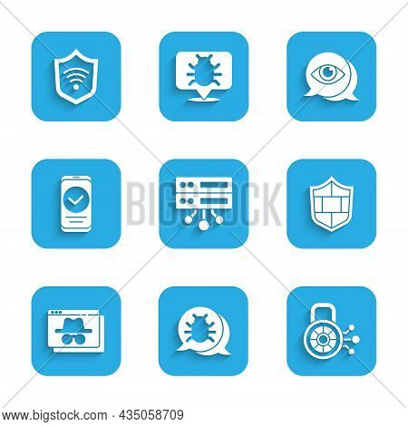 Set Server, Data, Web Hosting, System Bug, Cyber Security, Shield With Brick Wall, Browser Incognito