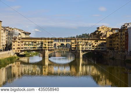 Florence (italy), September 3, 2021. Old Bridge. The Ponte Vecchio Is A Medieval Bridge Over The Arn