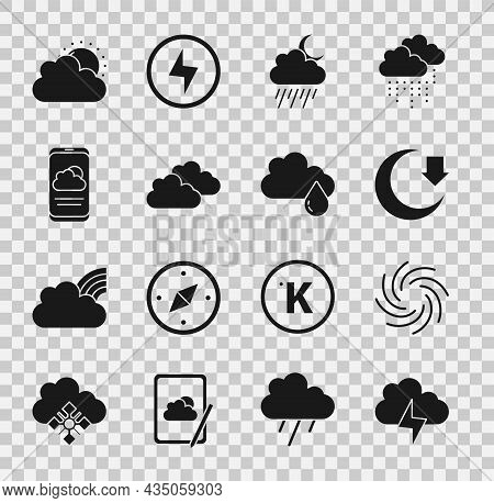 Set Storm, Tornado, Moon, Cloud With Rain And Moon, Weather Forecast, Sun Cloud Weather And Icon. Ve