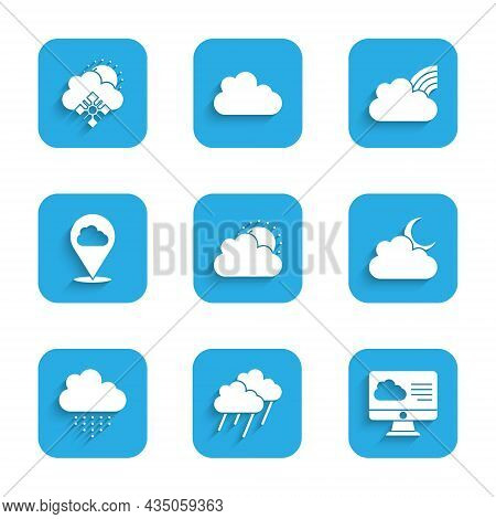 Set Sun And Cloud Weather, Cloud With Rain, Weather Forecast, Moon, Location, Rainbow Clouds And Sno