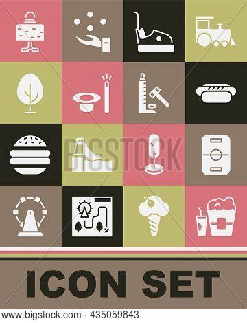 Set Popcorn In Box And Glass, Hockey Table, Hotdog, Bumper Car, Magic Hat Wand, Tree, Ball On And St
