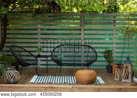 Wooden Verande With Garden Furniture. Modern Lounge Outdoors In Backyard. Terrace House With Plants,