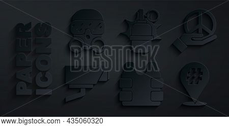 Set Bulletproof Vest, Peace, Security Camera, Protest, Hand Grenade And Gas Mask Icon. Vector