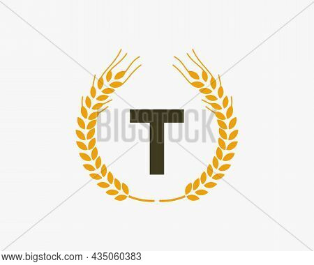Agriculture Wheat Logo On T Letter. Letter T Agriculture Logo Design Template, Food, Healthy Nutriti