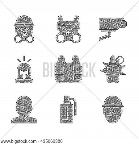 Set Bulletproof Vest, Hand Grenade, Special Forces Soldier, Vandal, Flasher Siren, Security Camera A