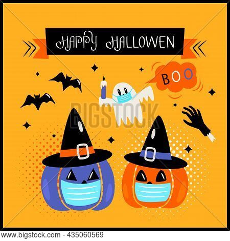 Happy Halloween Banner Or Greeting Card With Hand Lettering. Pumpkin Jack Lamp, Ghost, Bat And Monst