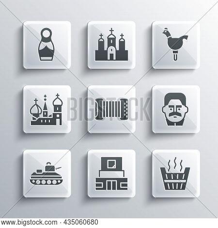 Set Mausoleum Of Lenin, Sauna Bucket, Joseph Stalin, Accordion, Military Tank, Saint Basils Cathedra