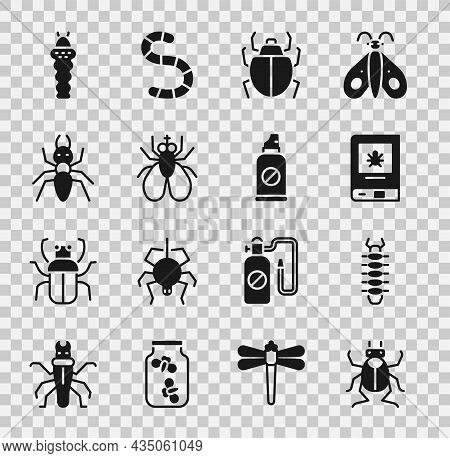 Set Beetle Bug, Centipede, Book About Insect, Mite, Insect Fly, Ant, Larva And Spray Against Insects