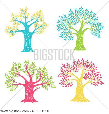 Coloured Oak Trees. Beech Or Olive Antique Tree Set Sketching Isolated For Logo, Vintage Oaks Silhou