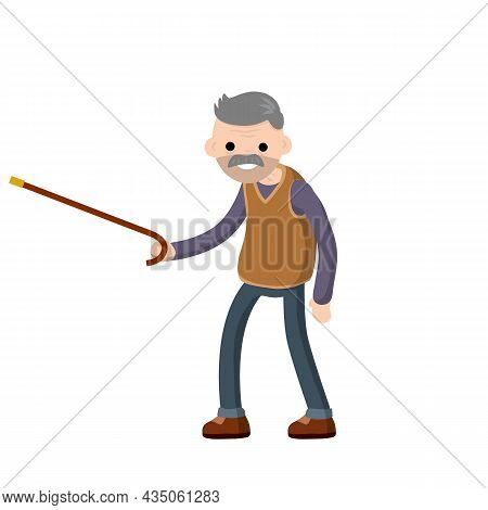 Funny Old Man With A Cane. Senior Point Direction. Active Lifestyle And Recreation Grandfather. Cart