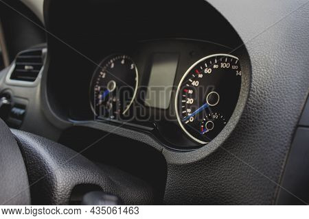 Close Up Of Car Interior Inside. Dashboard And Interior In A Car