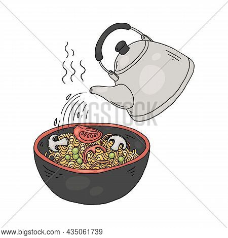 Steeping Instant Noodles Or Indomie With Water, Vector Illustration Isolated.