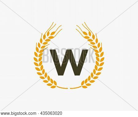 Agriculture Wheat Logo On W Letter. Letter W Agriculture Logo Design Template, Food, Healthy Nutriti