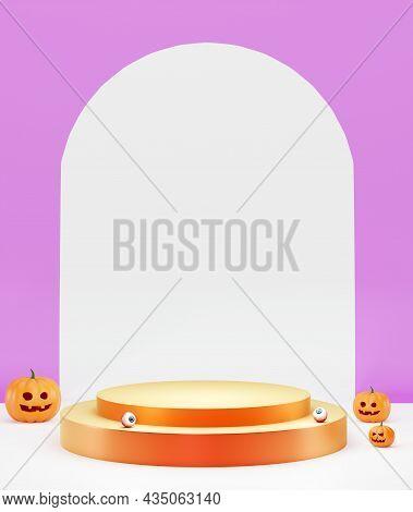 Halloween Background With Podium. Halloween Jack O Lantern Display Showcase, 3d Render. Pumpkins, Ey