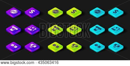 Set Tearing Money Banknote, Stacks Paper Cash, Atm And, Money Exchange, Dollar Symbol And No Icon. V