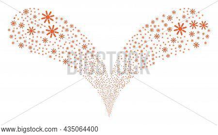 Sun Rays Double Fireworks Fountain. Sun Rays Explosion Double Fountain. Object Fountain Organized Fr