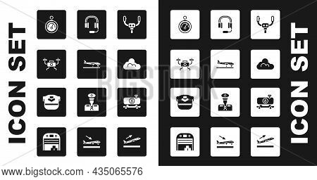 Set Aircraft Steering Helm, Plane, Drone Flying, Barometer, Cloud Weather, Headphones With Microphon