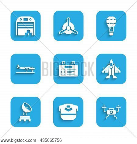 Set Airport Board, Pilot Hat, Drone Flying, Jet Fighter, Radar, Plane, Hot Air Balloon And Aircraft