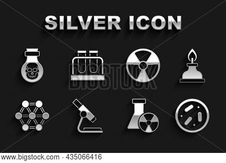 Set Microscope, Alcohol Or Spirit Burner, Petri Dish With Bacteria, Test Tube Radiation, Molecule, R